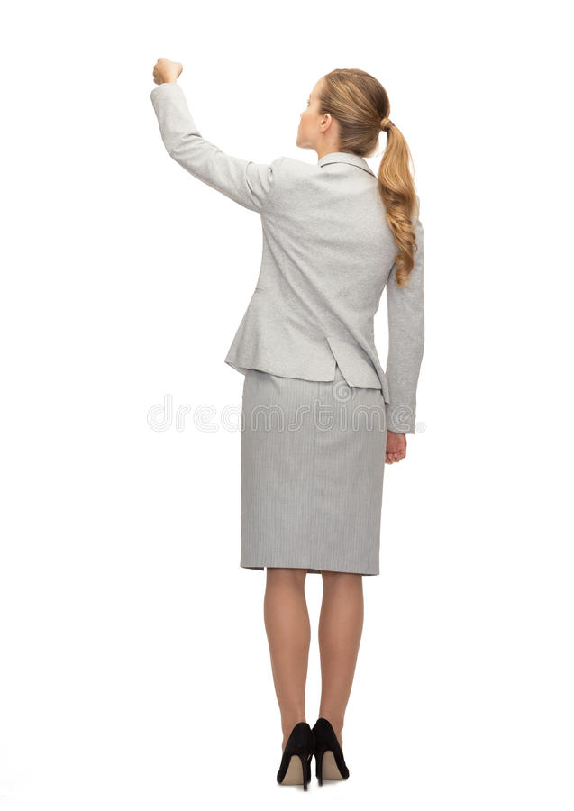 Onderneemster of leraar met teller van rug stock afbeeldingen