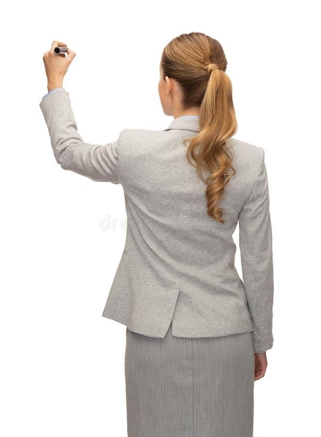 Onderneemster of leraar met teller van rug royalty-vrije stock afbeelding