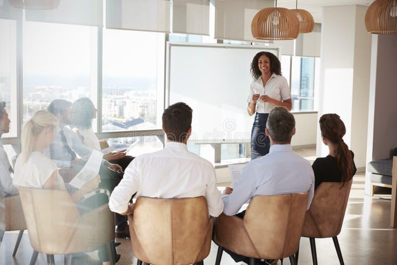 Onderneemster Making Presentation Shot door Deuropening royalty-vrije stock foto