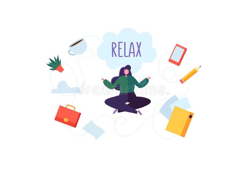 Onderneemster Meditating op het Zware Bureauwerk Het bedrijfskarakter Ontspannen op Koffiepauze Het Concept van de meditatieyoga vector illustratie