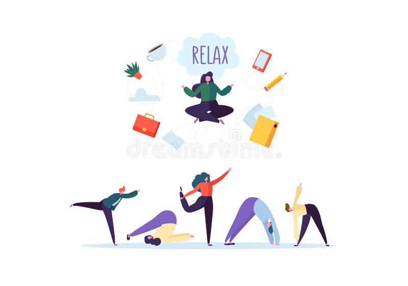 Onderneemster Meditating op het Zware Bureauwerk De bedrijfskarakters in Diverse Ontspanning stelt de Groep van de Meditatieyoga stock illustratie
