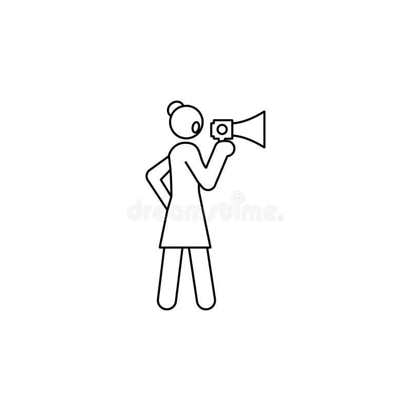 onderneemster, megafoonpictogram Element van het onafhankelijke pictogram van de vrouwenlijn vector illustratie