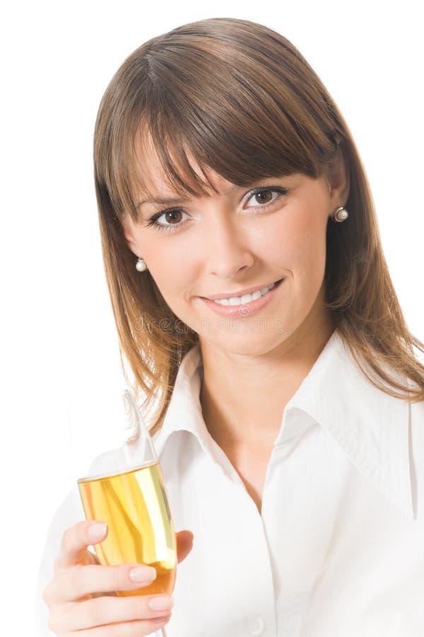 Onderneemster met champagne stock afbeelding