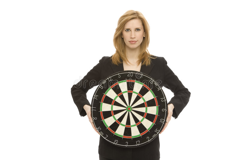 Onderneemster met dartboard royalty-vrije stock foto