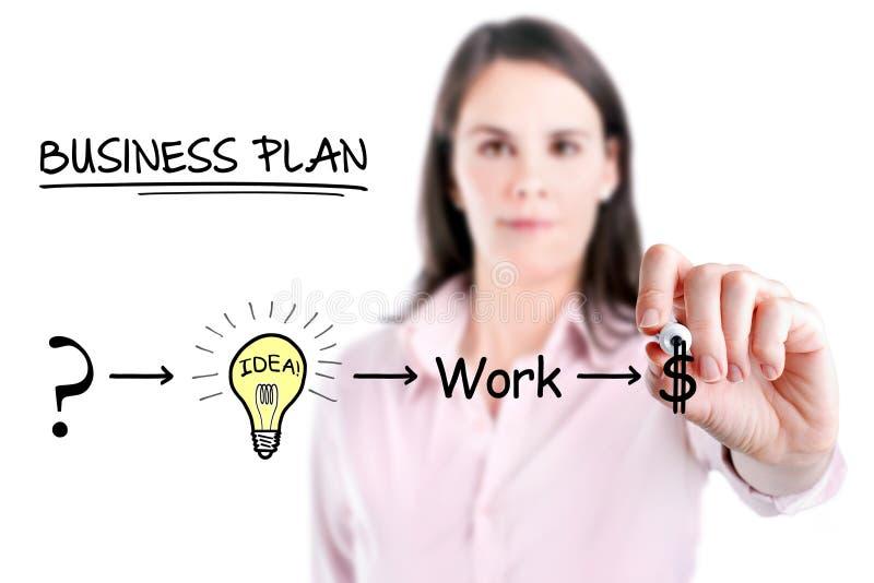 Onderneemster met een strategieplan om in zijn zaken, witte achtergrond succesvol te zijn. royalty-vrije stock afbeeldingen