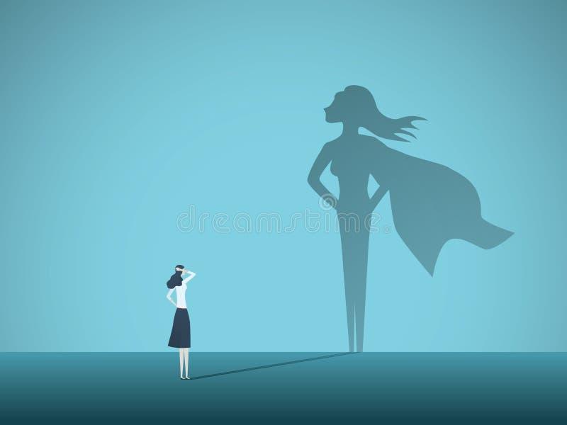 Onderneemster met het vectorconcept van de superheroschaduw Bedrijfssymbool van emancipatie, ambitie, succes, motivatie vector illustratie