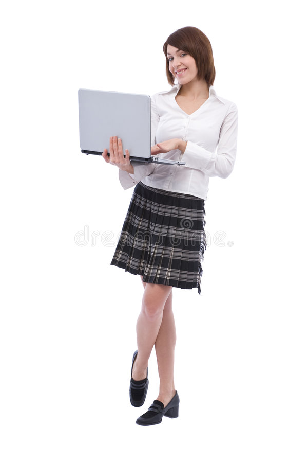 Onderneemster met laptop royalty-vrije stock afbeeldingen