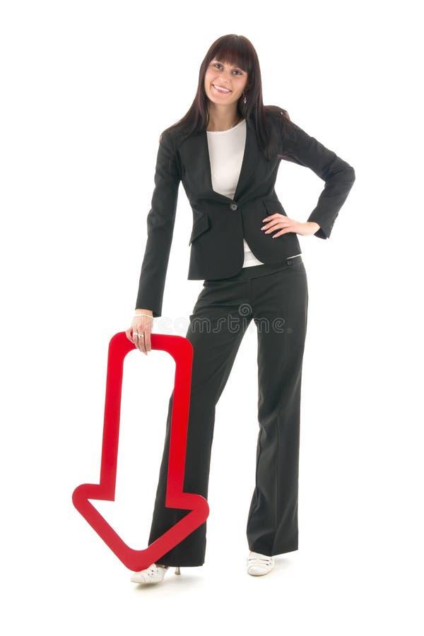 Onderneemster met rood pijltje stock afbeelding