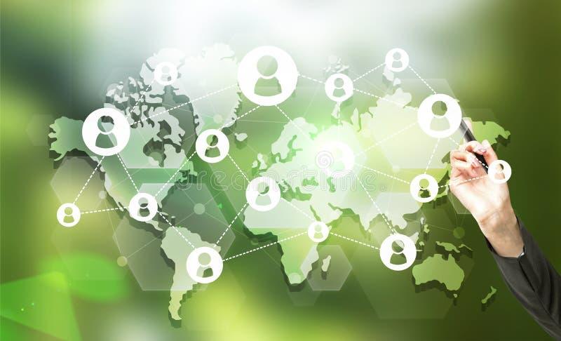 Onderneemster met sociaal netwerk vector illustratie
