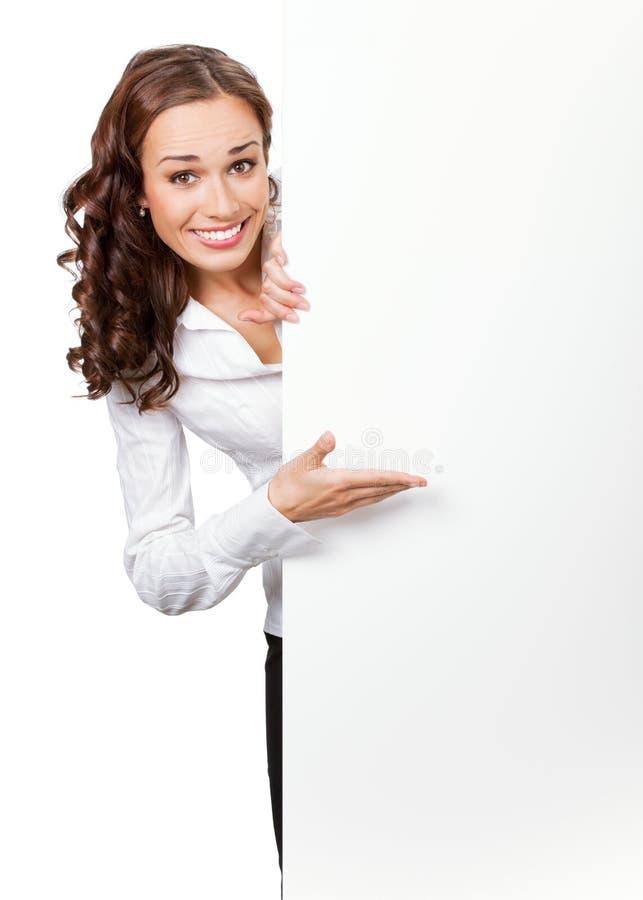 Onderneemster met uithangbord, op whit stock foto