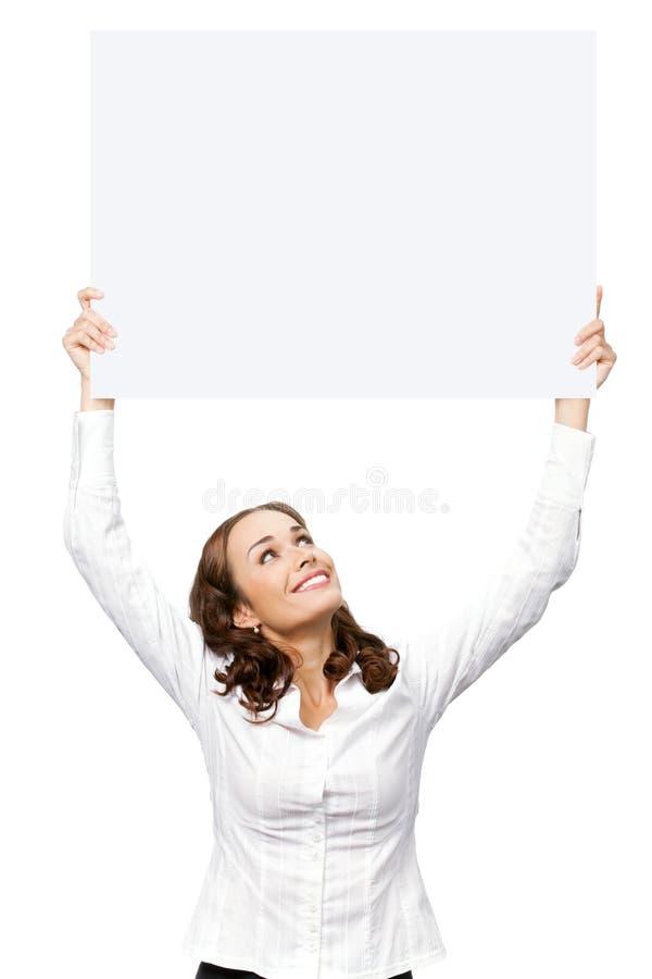 Onderneemster met uithangbord, op whit stock afbeelding