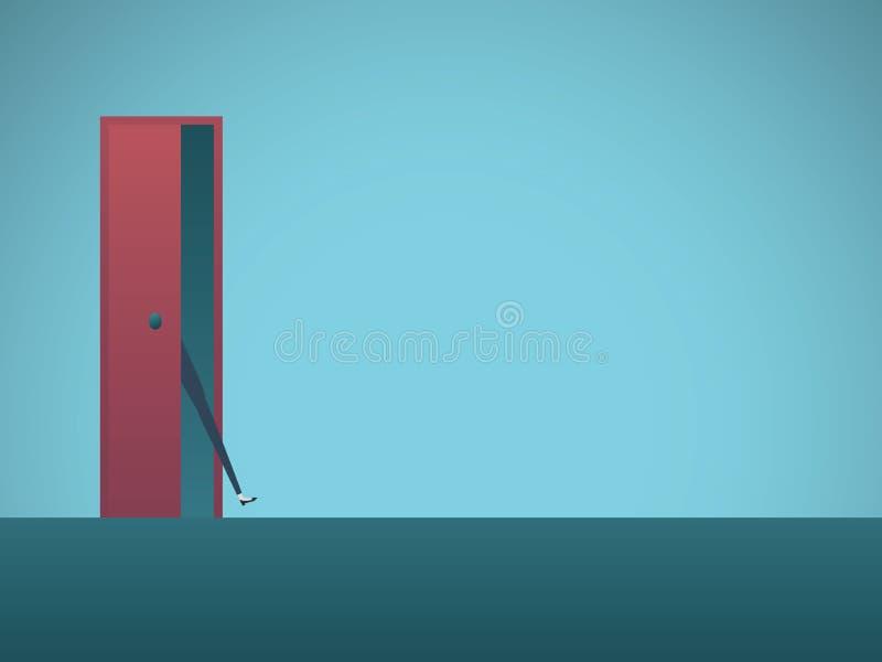 Onderneemster met voet in het deur vectorconcept Symbool van bepaling, kans, aspiraties royalty-vrije illustratie