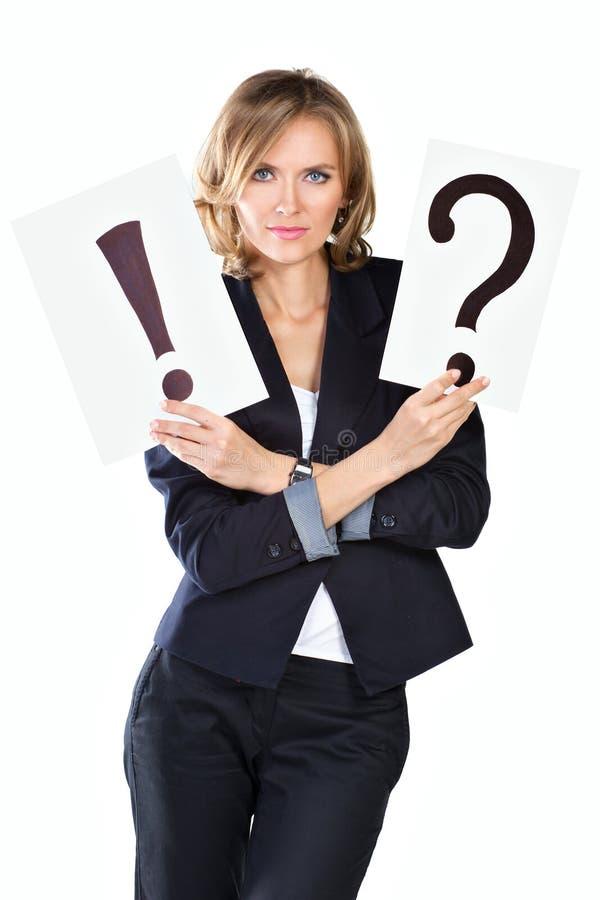Onderneemster met vraag en uitroepteken stock afbeeldingen