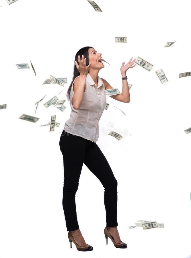 Download Onderneemster Onder Geldregen Stock Afbeelding - Afbeelding bestaande uit financiën, gelukkig: 54082417