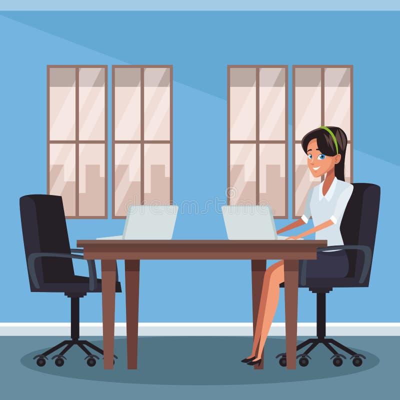 Onderneemster op kantoor stock illustratie