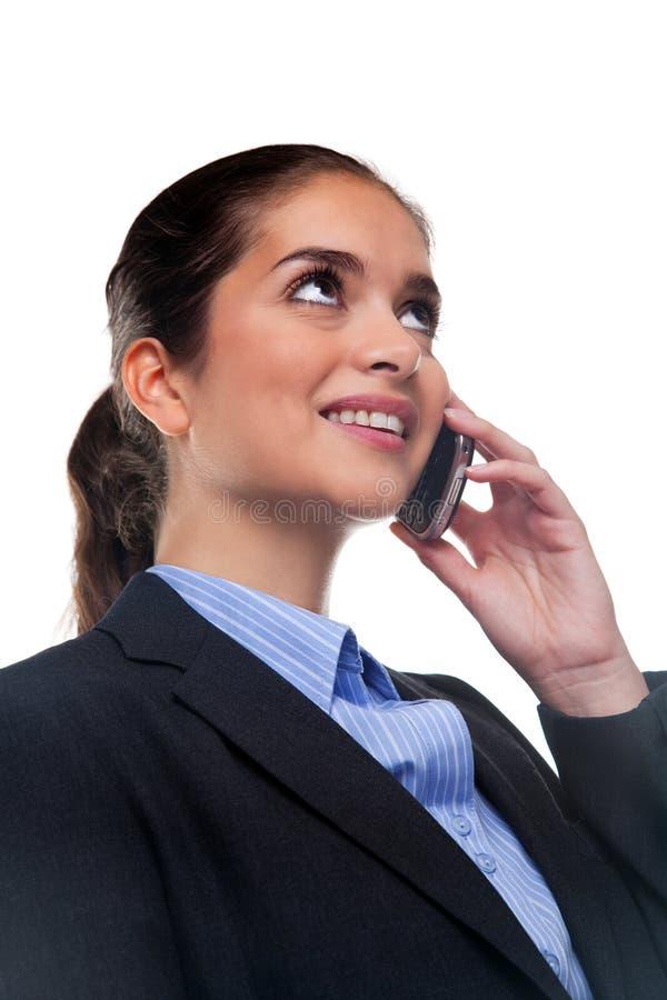 Onderneemster op mobiele telefoon stock foto