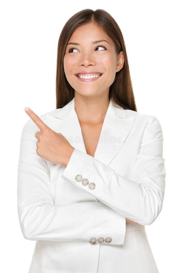 Onderneemster Pointing While Looking weg royalty-vrije stock afbeelding