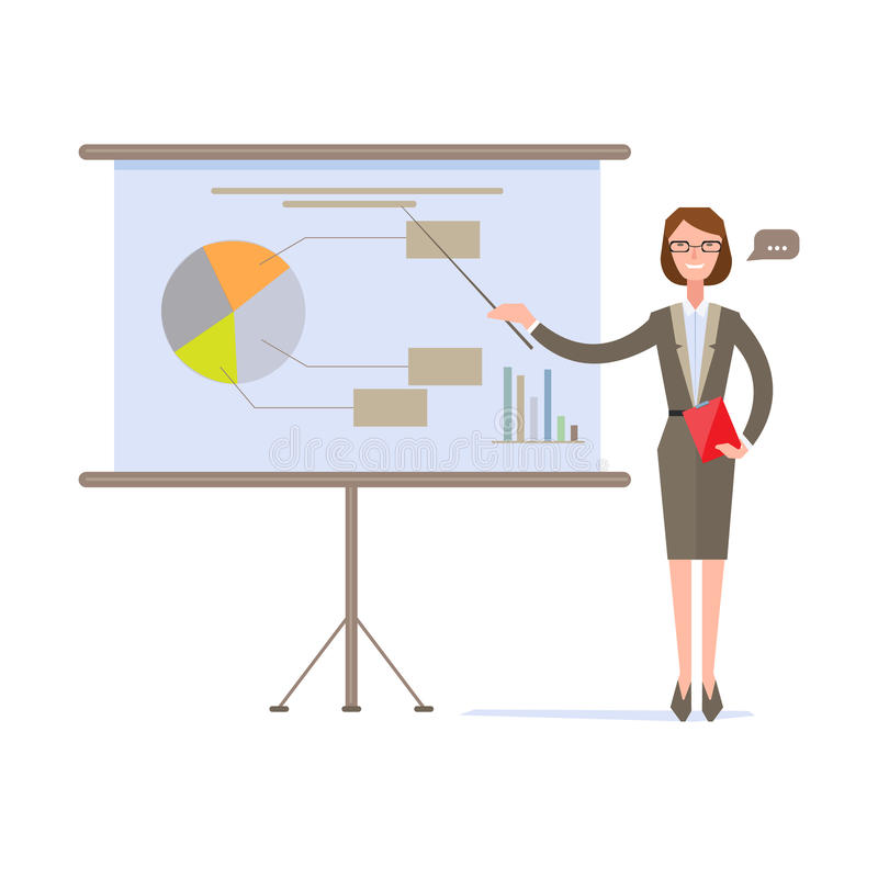 Onderneemster Presenting Pie Chart op het Scherm vector illustratie
