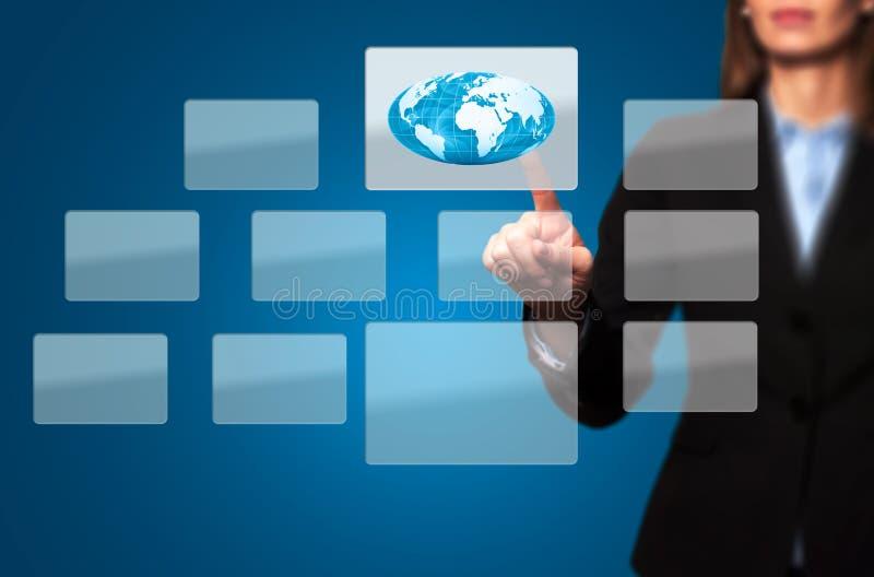 Onderneemster Touching World Button - Voorraadbeeld royalty-vrije stock afbeelding