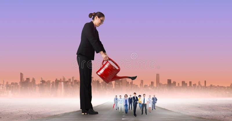 Onderneemster water gevende werknemers royalty-vrije illustratie