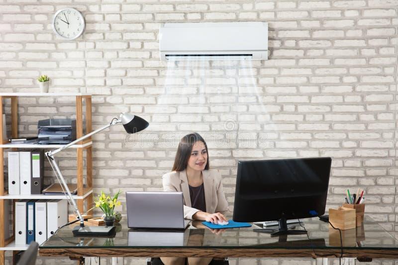 Onderneemster Working In Office met Airconditioning stock afbeelding