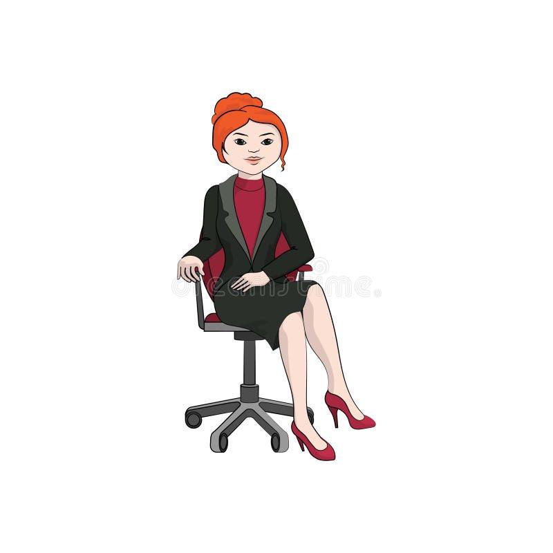 Onderneemstermeisje, vrouwenzitting op een bureaustoel Vectorkleur vector illustratie