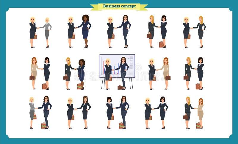 Onderneemstershanddruk Bedrijfsmensengroepswerk, reeks bedrijfsvrouwen stock illustratie