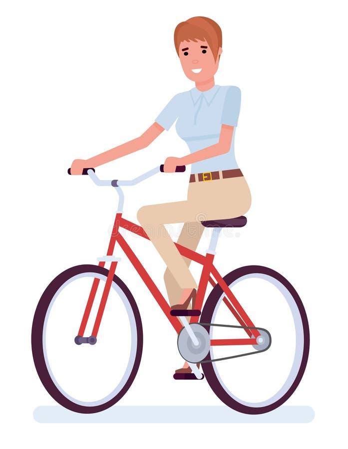 Onderneemsterzitting naast fiets, de zomertijd De vectorillustratie van het beeldverhaal vlakke die ontwerp op witte achtergrond  vector illustratie