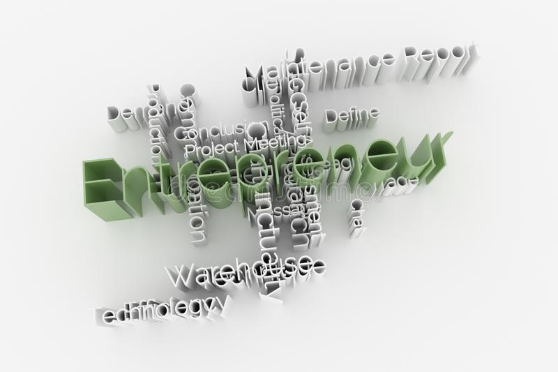Ondernemer, bedrijfssleutelwoord en woordenwolk Voor webpagina, grafisch ontwerp, textuur of achtergrond het 3d teruggeven stock illustratie