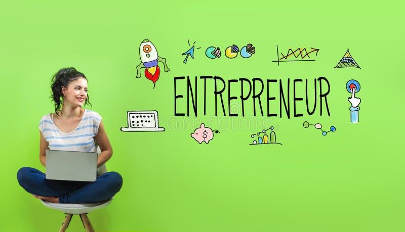 Ondernemer met jonge vrouw stock afbeelding