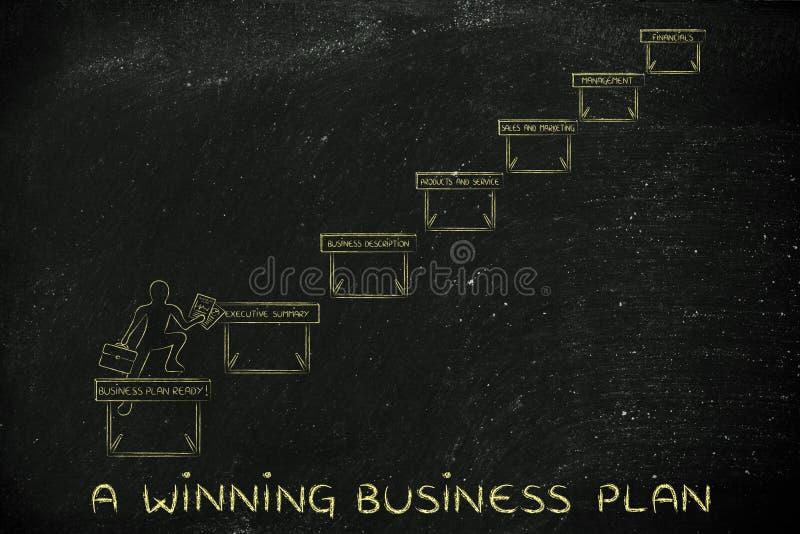 Ondernemers jumpying hindernissen, met teksta winnende zaken pl royalty-vrije stock afbeelding