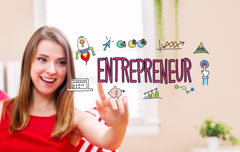 Ondernemersconcept met jonge vrouw royalty-vrije stock afbeelding
