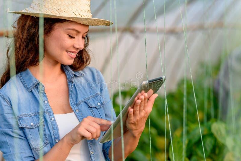 Ondernemersvrouw in haar tablet van de serreholding Jonge Onderneemster stock fotografie