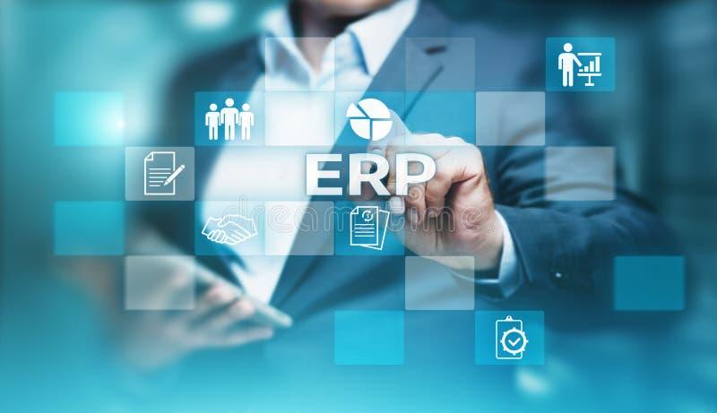 Ondernemingsmiddel die ERP Collectief de Commerciële van het Bedrijfbeheer Technologieconcept plannen van Internet stock foto
