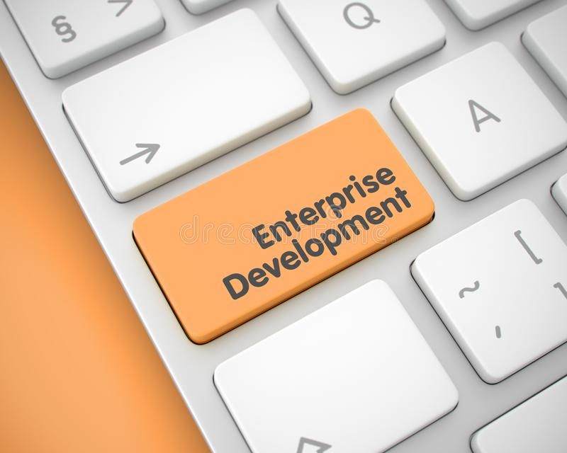Ondernemingsontwikkeling - Tekst op Oranje Toetsenbordtoetsenbord 3d royalty-vrije stock foto's