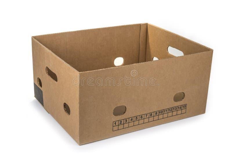 Onderste gedeelte van de lege bananenverpakking op een witte doos royalty-vrije stock foto's