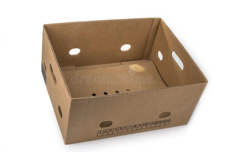 Onderste gedeelte van de lege bananenverpakking op een witte doos royalty-vrije stock afbeeldingen