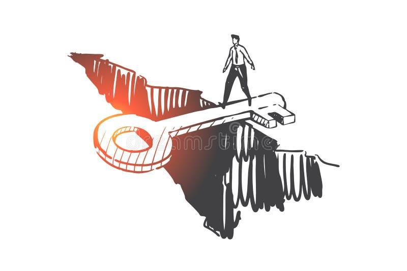Ondersteuning, hulp, schets van het crisisbeheersingsconcept Handgetrokken geïsoleerde vector royalty-vrije illustratie