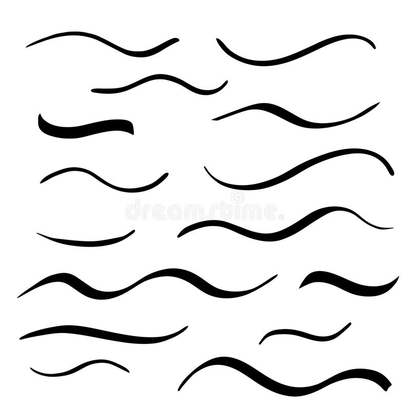 Onderstreept van letters voorziende die lijnen op witte achtergrond worden geplaatst Vector illustratie royalty-vrije illustratie