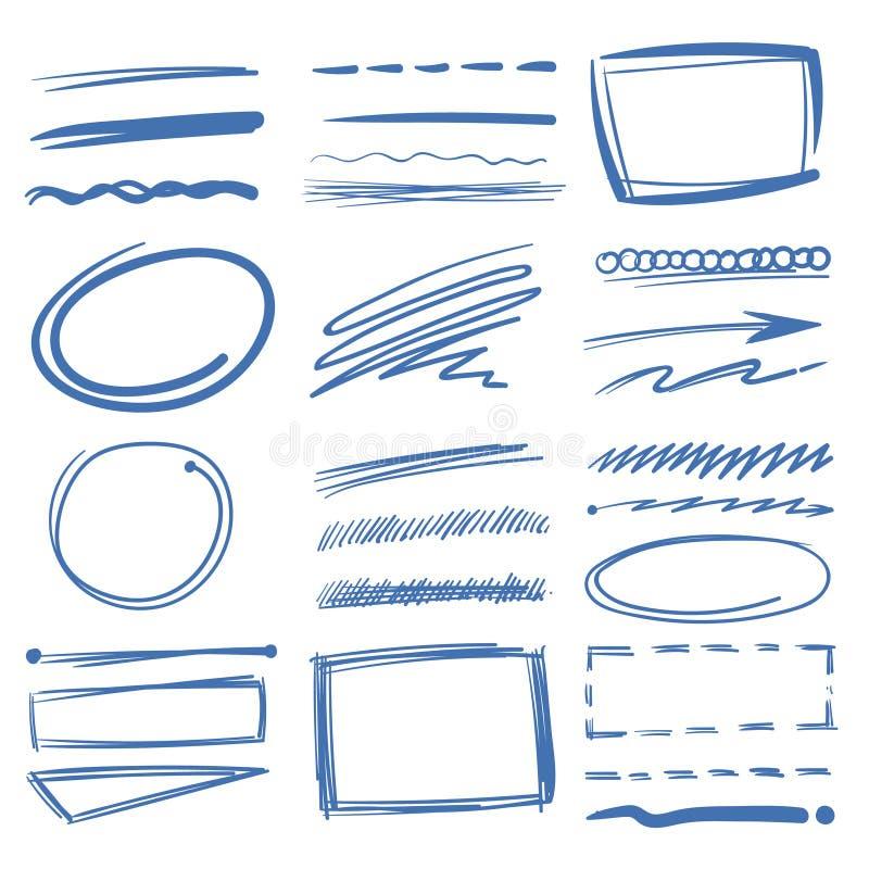 Onderstrepen de krabbel highlighter vectorelementen, schetscirkels, getrokken hand, potloodtekens vector illustratie