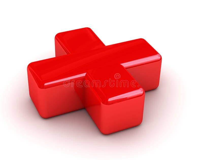 Onderteken een rood kruis vector illustratie