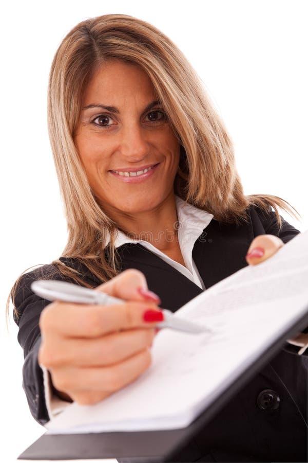 Onderteken het contract, tevreden royalty-vrije stock afbeeldingen