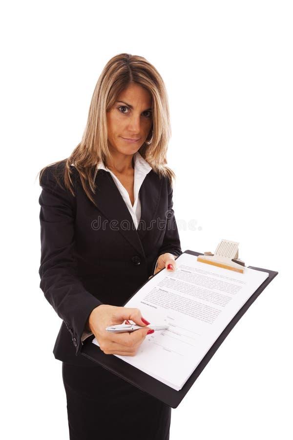 Onderteken het contract, tevreden stock fotografie