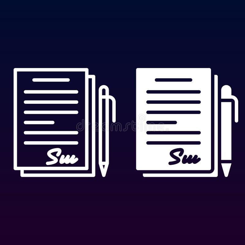 Ondertekend contract, documentlijn en stevig pictogram, overzicht en gevuld vectorteken, lineair en volledig die pictogram op wit stock illustratie