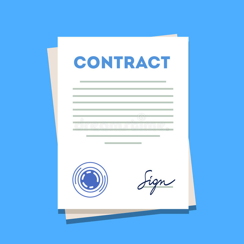 Ondertekend en gestempeld contractdocument pictogram vector illustratie