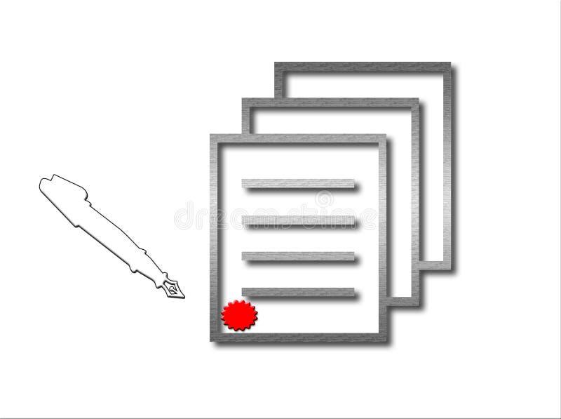 Ondertekend en Verzegeld Document royalty-vrije illustratie