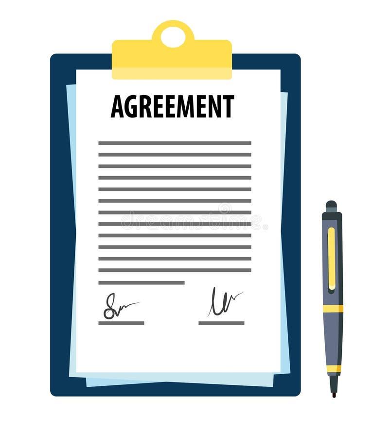 Ondertekende overeenkomst met pen royalty-vrije illustratie
