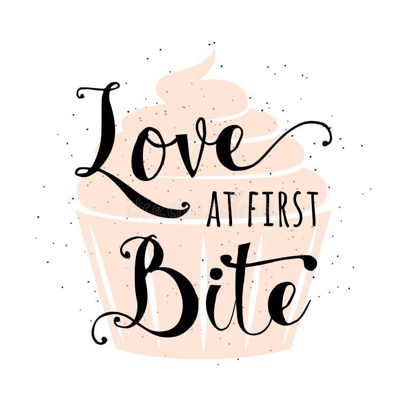 Ondertekent het voedsel verwante typografiecitaat met cupcake, hand getrokken van letters voorziende tekst sloganliefde bij eerst royalty-vrije illustratie