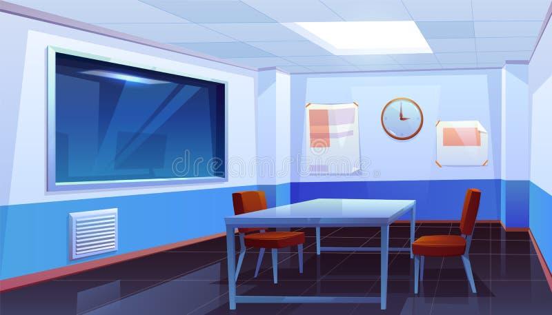Ondervragingsruimte in binnenlands politiebureau, vector illustratie
