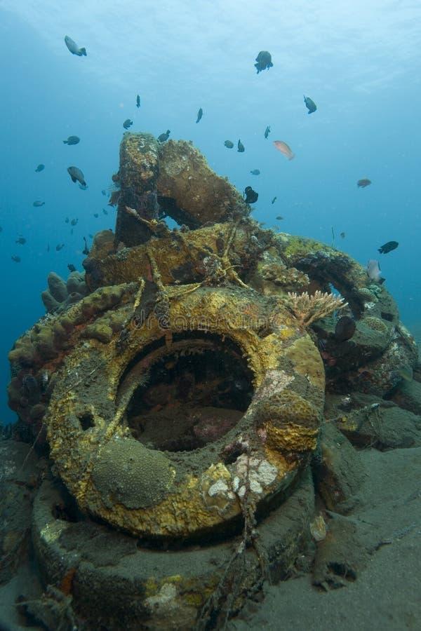 Onderwater Afval stock foto